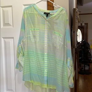 NWOT LANE BRYANT BLUE/GREEN BLOUSE